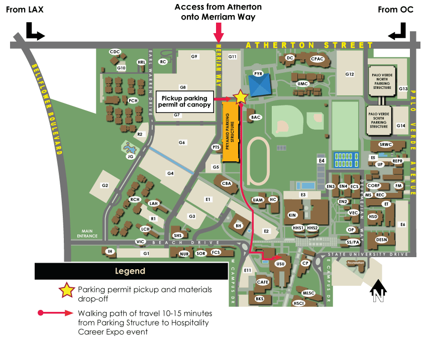Shuttle to venue provided. Walking Path of Travel (1/2 mi) between Parking Structure to Job Fair Event at the USU.
