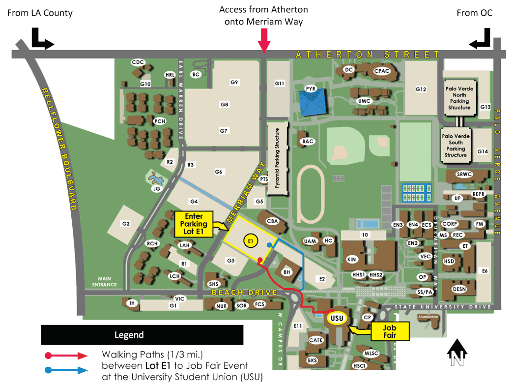 Walking Path of Travel 1/3 mi. between Lot E1 to Job Fair Event at the University Student Union (USU)